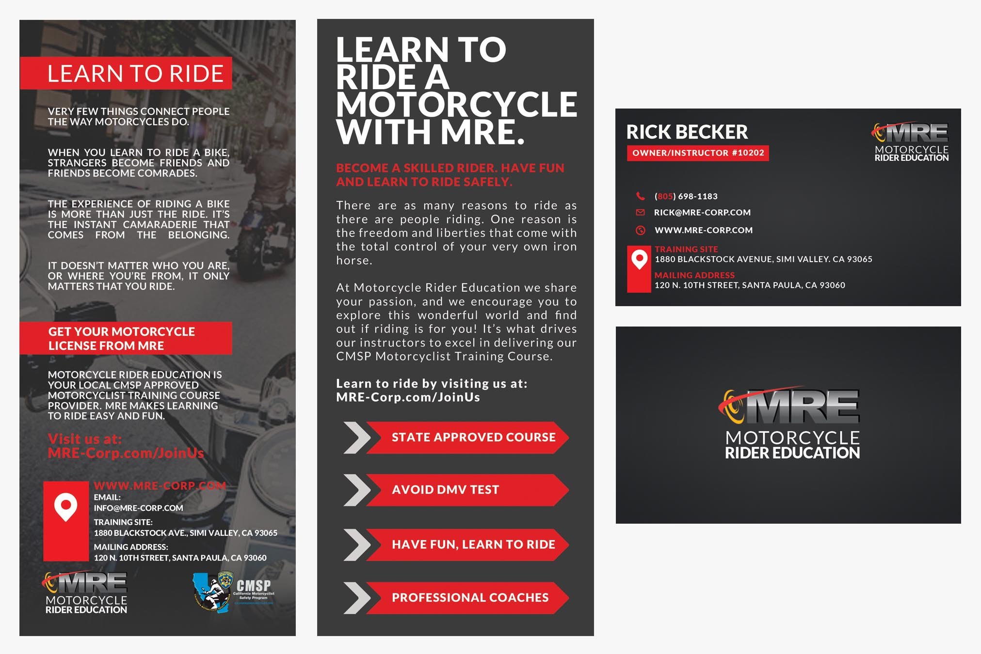 Motorcycle Rider Education Flyer Business Cards Michelle Dumas